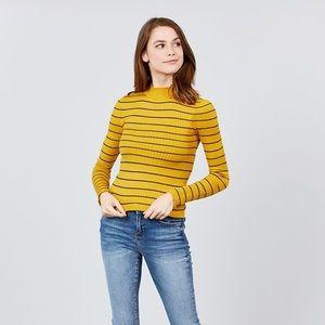 Sweaters - Long Sleeve Mock Neck Stripe Rib Sweater Top